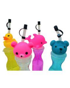 Botella infantil con figura de animalitos en la tapa 'Varios modelos'