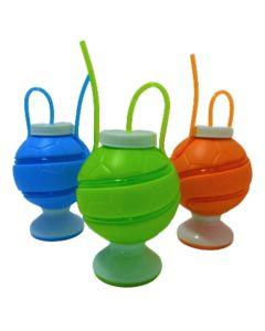 Vaso con forma de pelota con sorbete 'Varios colores'