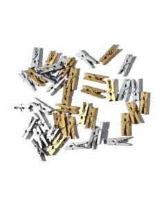 Mini broches en color plata y dorados de madera