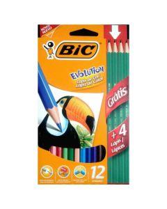 Lápices de colores Bic Evolution x12+4 grafito
