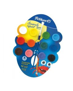 12 pastillas de acuarelas en colores varios
