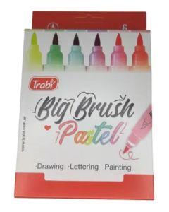 Marcador big brush pastel x6 punta pincel