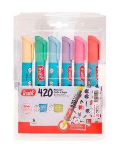 marcador 420 tinta al agua x6 colores pastel
