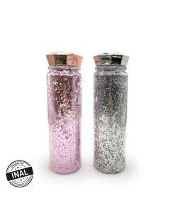 Botella transparente con glitter 650 ml.