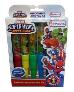 6 Marcadores Blow pen Super hero adventures