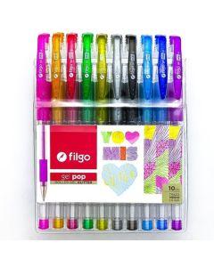 Boligrafos x10 Gel Pop c/glitter