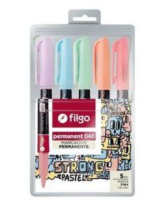 5 marcadores permanentes 040 pastel