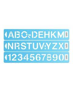 Regla letografo plantilla de letras y numeros