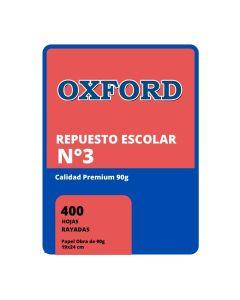 Repuesto N°3 de 400 Hojas Rayadas 90 gr. OXFORD
