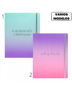 Cuaderno 19x24 80 hojas lisas Linea Degrade 'Varios modelos'