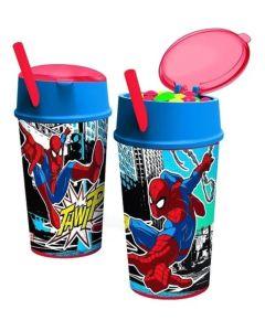 Vaso con porta cereal Spiderman