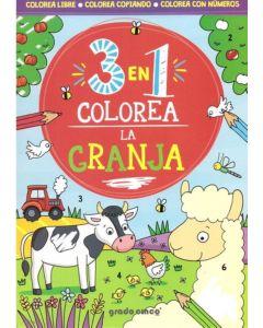 Libro 3 en 1 colorea la granja